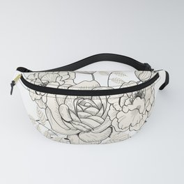 Nice flowers growing from an open book line art, vintage flowers growing out of a book illustration Fanny Pack