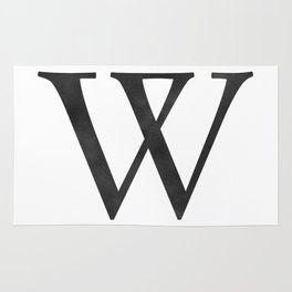 Letter W Initial Monogram Black and White Rug