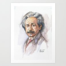 Albert Einstein Watercolor Portrait Art Print