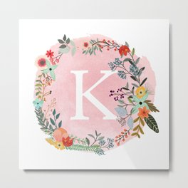 Flower Wreath with Personalized Monogram Initial Letter K on Pink Watercolor Paper Texture Artwork Metal Print