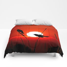 Blackbirds On Red Sunset. Comforters