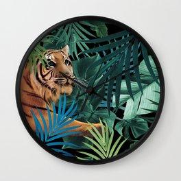 Tiger in the Jungle #1 #tropical #foliage #decor #art #society6 Wall Clock