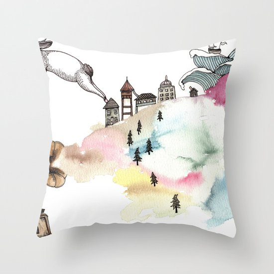 Rabbit Cloud Throw Pillow