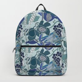 Seven Species Botanical Fruit and Grain in Blue Tones Backpack
