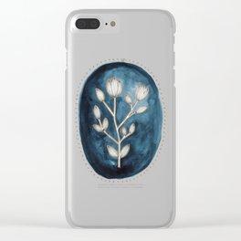 Indigo Flowers Clear iPhone Case
