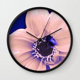 bee on a flower in technicolor Wall Clock