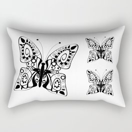 Butterfly black fishnet on a white background Rectangular Pillow