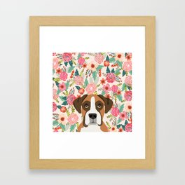 Boxer floral dog head cute pet portrait gifts for Boxers must haves Framed Art Print