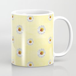 Daisies in love- Yellow Daisy Flower Floral pattern with Ladybug Coffee Mug