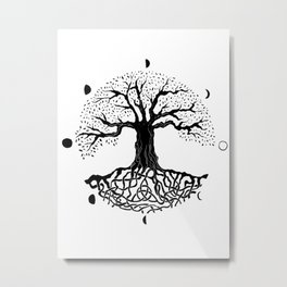 black and white tree of life with moon phases and celtic trinity knot II Metal Print