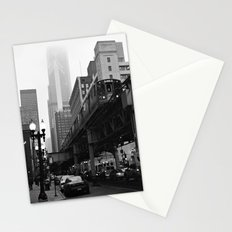 El on a Foggy Day Chicago Black and White Photo Stationery Cards