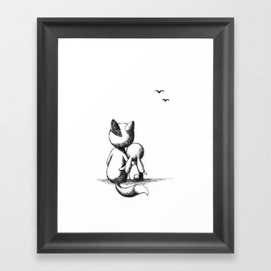 Fox and a rabbit Framed Art Print