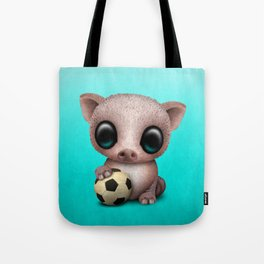 Cute Baby Pig With Football Soccer Ball Tote Bag