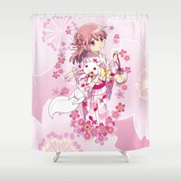 madoka Shower Curtains featuring Madoka Kaname (Yukata & Cherry Blossom edit) by Yue Graphic Design