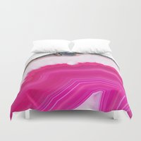 agate Duvet Covers featuring Pink Agate Slice by cafelab
