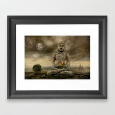 Buddha in the sand Framed Art Print