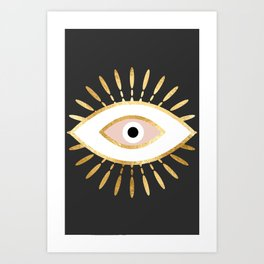 gold foil evil eye in blush Art Print