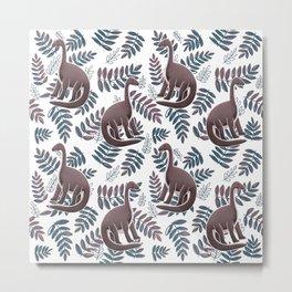Modern Dinosaur Pattern - Neutral Metal Print