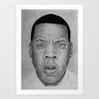 jay z Art Prints featuring Jay-z by pat langton
