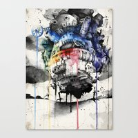 calcifer Canvas Prints featuring Howl's Moving Castle by Sandra Ink