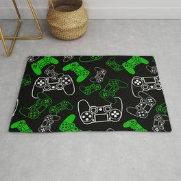 Video Games Green on Black Rug