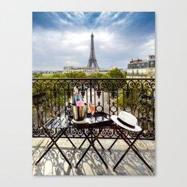 Eiffel Tower Paris Balcony View Canvas Print