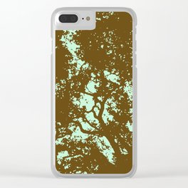 Mint and Brown Forest Clear iPhone Case