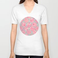 moroccan V-neck T-shirts featuring Moroccan Floral Lattice Arrangement in Pinks by micklyn