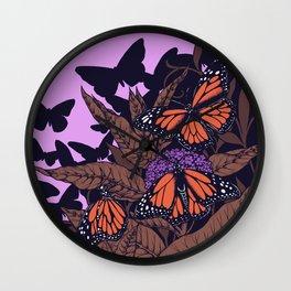 monarchs and milkweed Wall Clock