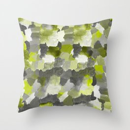 Painterly Gary Green Camouflage Throw Pillow