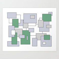 Squares - green, gray and white. Art Print