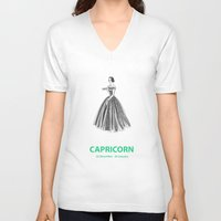 capricorn V-neck T-shirts featuring Capricorn by Cansu Girgin