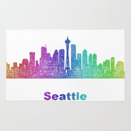 Rainbow Seattle skyline Rug