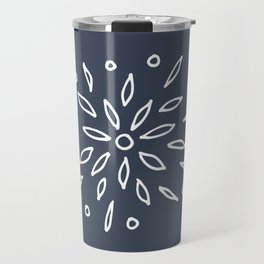 Starry Floral Pattern on Blue Travel Mug
