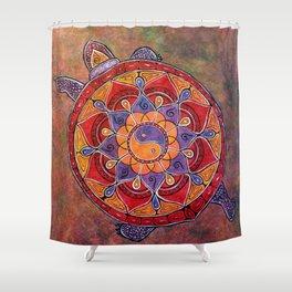 Autumn Turtle - yin yang mandala Shower Curtain