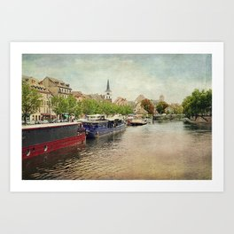 Strasbourg Riverboats Art Print
