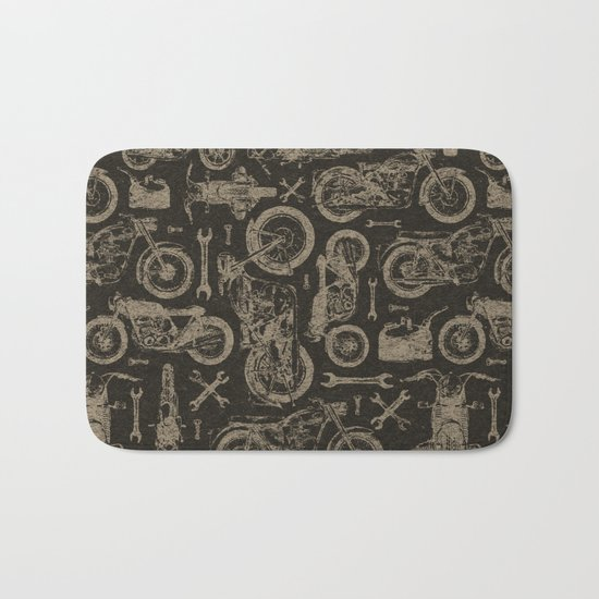Dark Vintage Motorcycle Pattern Bath Mat