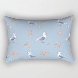 Seagull with Sea stars Watercolor Design Rectangular Pillow