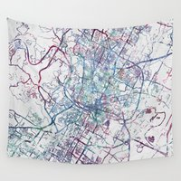 austin Wall Tapestries featuring Austin map by MapMapMaps.Watercolors