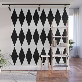 LARGE  WHITE AND BLACK   HARLEQUIN DIAMOND PATTERN Wall Mural