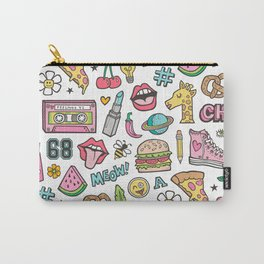 90's Vintage Patches Stickers Doodle Carry-All Pouch