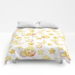 Yellow pink  watercolor dreamy stars moon sun pattern Comforters