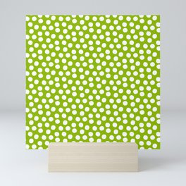 White Polka Dots on Fresh Spring Green - Mix & Match with Simplicty of life Mini Art Print