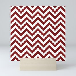 Sangria Red Chevrons Pattern Mini Art Print