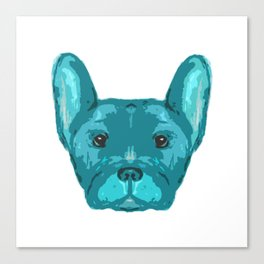 Teal Frenchie Top. Canvas Print