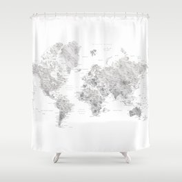 Marble world map in light grey and brown Shower Curtain