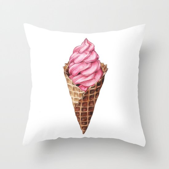 Ice Cream Throw Pillow by Joan Pons Society6