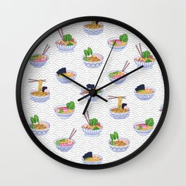 Send Noods - Ramen Noodles On Grey and White Wall Clock