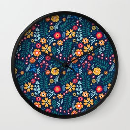 "Cute Floral pattern of small flowers. ""Ditsy print"". Wall Clock"