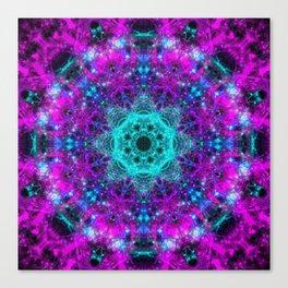 Neon Space Mandala Canvas Print